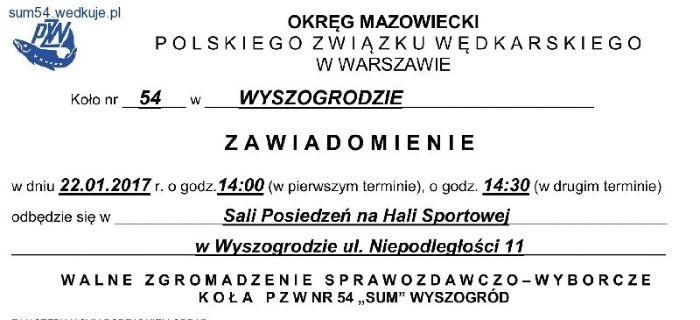 Og³oszenie - Zebranie Sprawozdawczo - Wyborcze Ko³a PZW