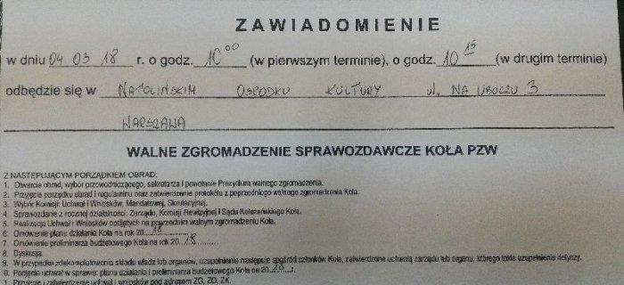 Walne Zgromadzenie Sprawozdawcze Ko³a nr 28 Warszawa Ursynów