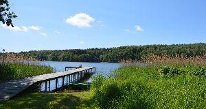 Widok z posesji na jezioro Tumiañskie